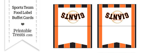 SF Giants Food Label Buffet Cards