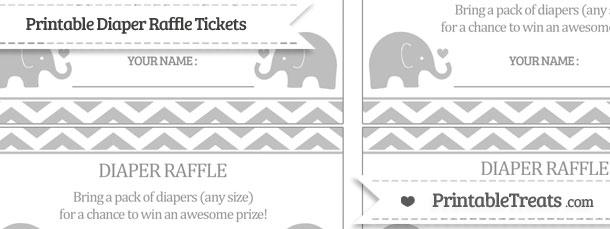Free Silver Chevron Baby Elephant Diaper Raffle Tickets