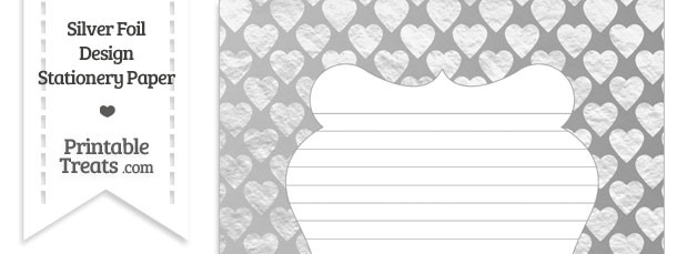 Silver Foil Hearts Stationery Paper
