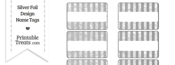 Silver Foil Stripes Name Tags