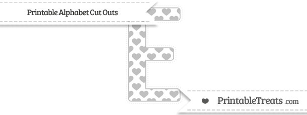 Free Silver Heart Pattern Extra Large Capital Letter E Cut ...