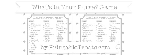 photograph regarding What's in Your Purse Free Printable identified as Silver Star Practice Whats in just Your Purse Youngster Shower Recreation