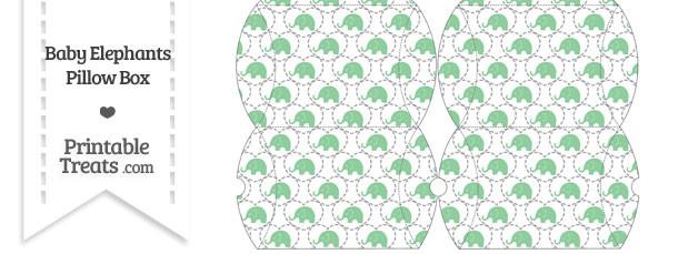 Small Green Baby Elephants Pillow Box