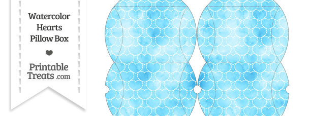 Small Light Blue Watercolor Hearts Pillow Box