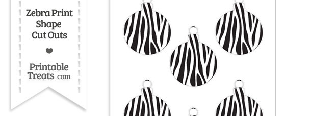 Small Zebra Print Christmas Ornament Cut Outs
