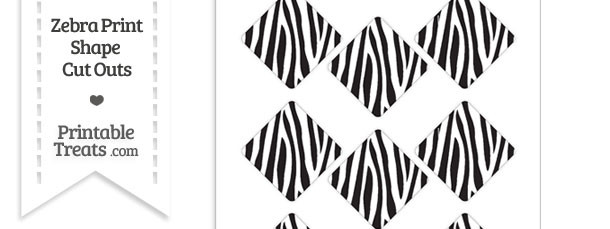 Small Zebra Print Diamond Cut Outs