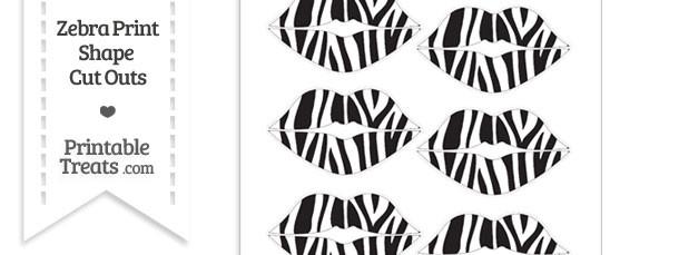 Small Zebra Print Lips Cut Outs