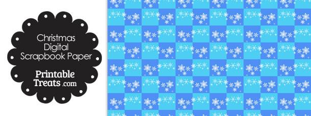 Snowflake Checkered Digital Scrapbook Paper Printable Treats
