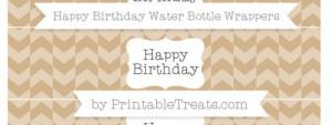 free-tan-herringbone-pattern-happy-birthday-water-bottle-wrappers-to-print