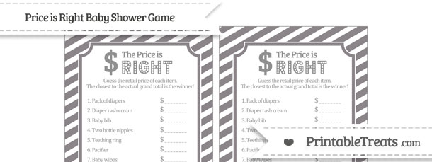 graphic relating to Price is Right Baby Shower Game Free Printable named Taupe Gray Diagonal Striped Cost is Instantly Child Shower Recreation