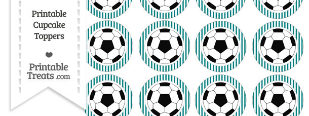 Free Teal Striped Soccer Ball Cupcake Toppers Printable Treats Magnificent Soccer Ball Decorations Cupcakes