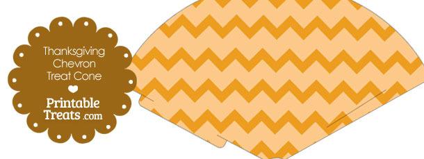 Thanksgiving Chevron Printable Treat Cone