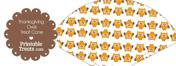 Thanksgiving Owls Printable Treat Cone
