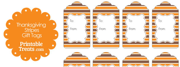 photograph regarding Free Printable Thanksgiving Tags named Thanksgiving Stripes Present Tags Printable