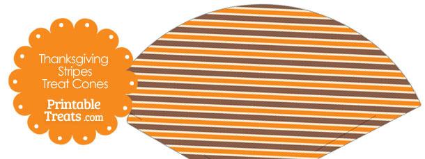 Thanksgiving Stripes Printable Treat Cone