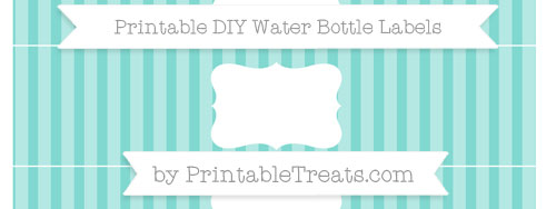 image regarding Free Printable Water Bottle Labels identified as Tiffany Blue Striped Do it yourself H2o Bottle Labels Printable