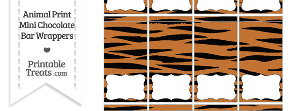 Tiger Print Mini Chocolate Bar Wrappers