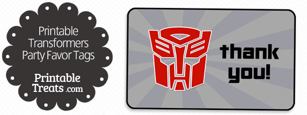 Transformers Party Favor Tags Printable Treats