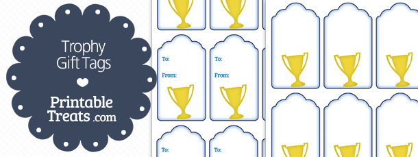 image regarding Printable Trophy Labels identified as Trophy Present Tags Printable