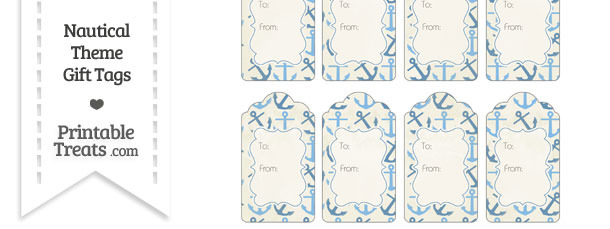 Vintage Blue Anchors Gift Tags