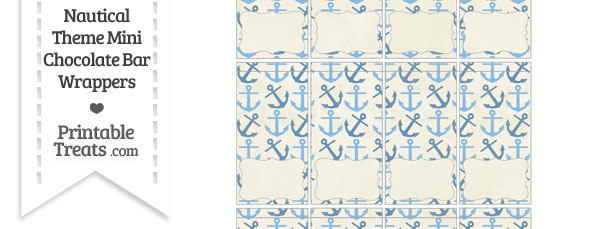 Vintage Blue Anchors Mini Chocolate Bar Wrappers