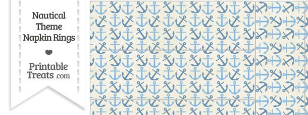 Vintage Blue Anchors Napkin Rings
