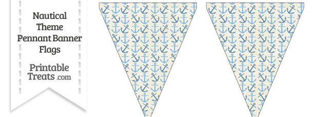 Vintage Blue Anchors Pennant Banner Flag