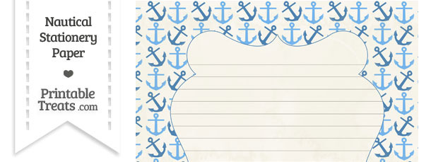 Vintage Blue Anchors Stationery Paper