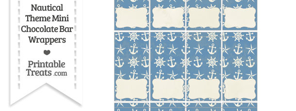 Vintage Blue Nautical Mini Chocolate Bar Wrappers