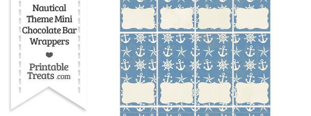Vintage Blue Nautical Mini Chocolate Bar Wrappers