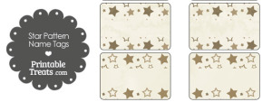 Vintage Brown Star Pattern Name Tags