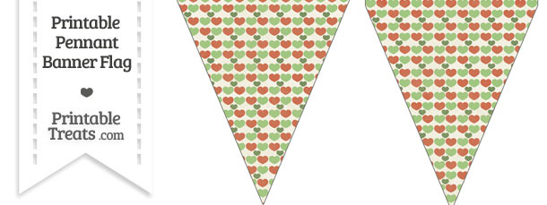 Vintage Christmas Hearts Pennant Banner Flag