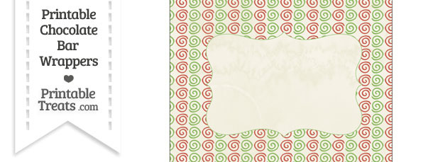 Vintage Christmas Swirls Chocolate Bar Wrappers