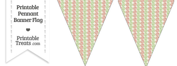 Vintage Christmas Swirls Pennant Banner Flag