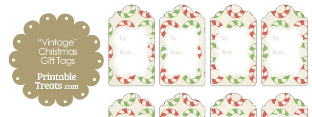 Vintage Christmas Wreath Gift Tags