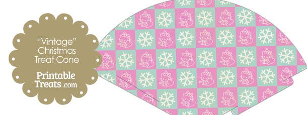 Vintage Hello Kitty Christmas Checkered Printable Treat Cone