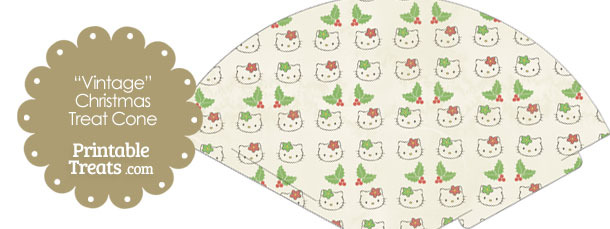 Vintage Hello Kitty Christmas Holly Printable Treat Cone