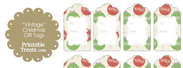 Vintage Noel Christmas Ornament Gift Tags