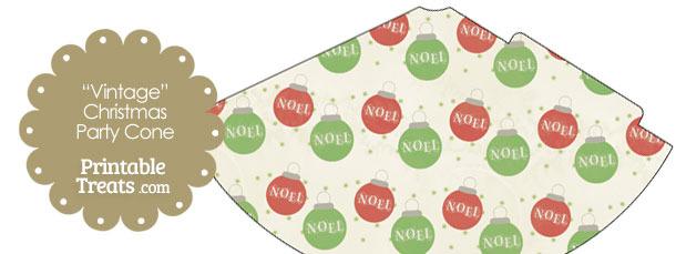 Vintage Noel Christmas Ornament Party Cone