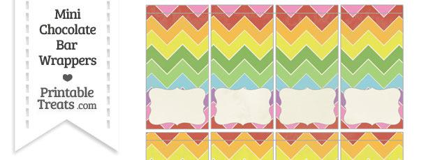 Vintage Rainbow Chevron Mini Chocolate Bar Wrappers