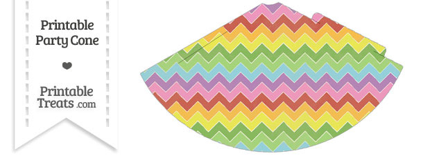 Vintage Rainbow Chevron Party Cone