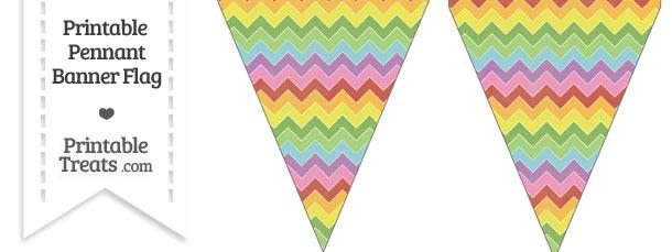Vintage Rainbow Chevron Pennant Banner Flag