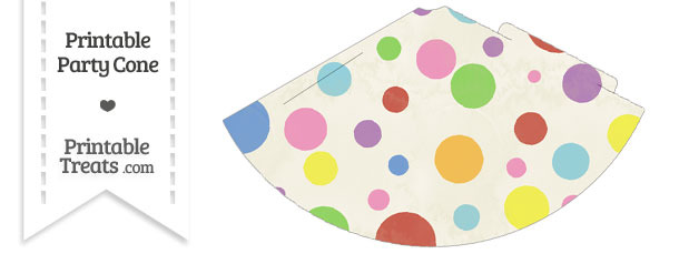 Vintage Rainbow Dots Party Cone