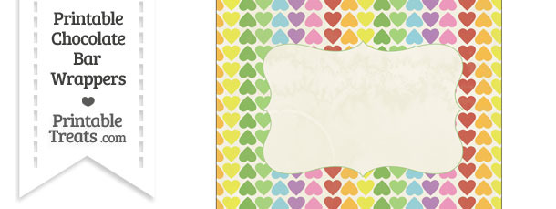 Vintage Rainbow Hearts Chocolate Bar Wrappers