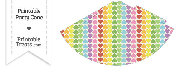 Vintage Rainbow Hearts Party Cone
