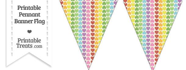 Vintage Rainbow Hearts Pennant Banner Flag