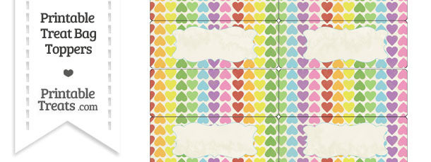 Vintage Rainbow Hearts Treat Bag Toppers