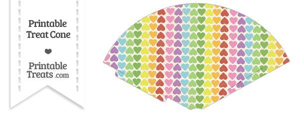 Vintage Rainbow Hearts Treat Cone