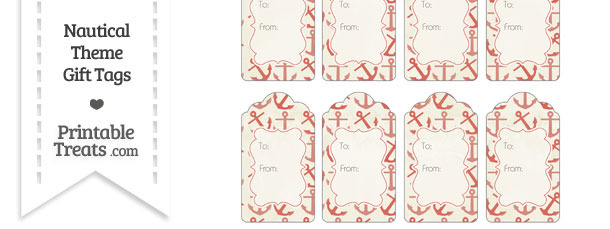 Vintage Red Anchors Gift Tags