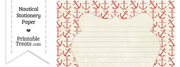 Vintage Red Anchors Stationery Paper
